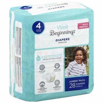 Well Beginnings Premium Diapers 4 28.0 ea(pack of 12)