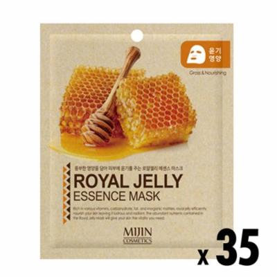 Pack of 35, The Elixir Beauty Facial Mask Sheet, Highly-Concentrated Full Face Mask Pack, Royal Jelly