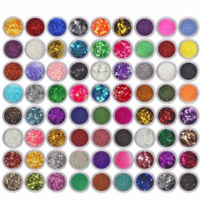 DZT1968 72 Colors Spangle Glitter Nail Art Paillette Acrylic UV Powder Polish Tips Set