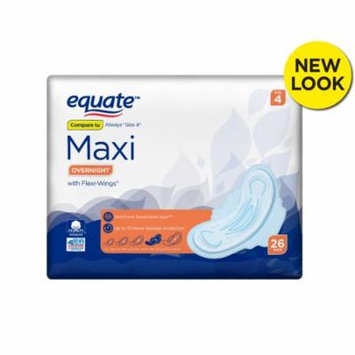 Equate Maxi Pads wih Flexi-Wings, Extra Heavy Overnight, Size 4, 26 Count