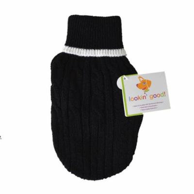 Fashion Pet Cable Knit Dog Sweater - Black X-Small (8