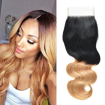 Top Hair Peruvian Virgin Hair Body Wave Lace Closure 4×4 Bleach Knots with Baby Hair Free Part Full Lace closure ombre hair 1b/27 Color 130% Density (12 inch)