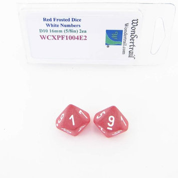 Wondertrail Products Red Frosted Dice with White Numbers D10 Aprox 16mm (5/8in) Pack of 2 Wondertrail