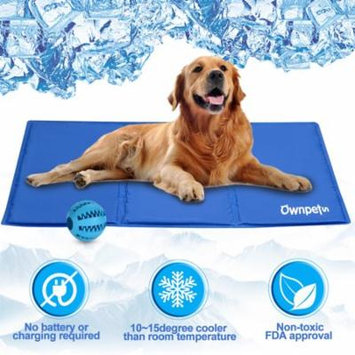 Ownpets Pet Self Cooling Gel Pad Cooling Mat w/ Pet Toy Ball, Pressure Activated FDA Approved, 3 Sizes
