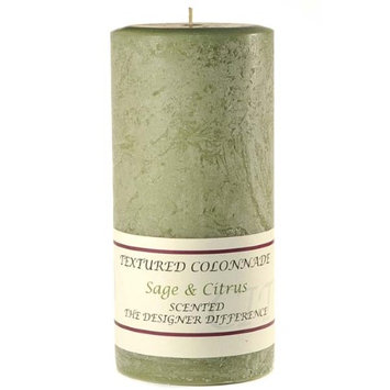 Usc 3 Pcs, Textured 3x6 Sage and Citrus Pillar Candles 3 in. diameterx6.25 in. tall (Pack of 3)