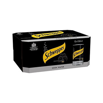 Schweppes Soda Water Mini Cans 12 x 150ml (Pack of 2)
