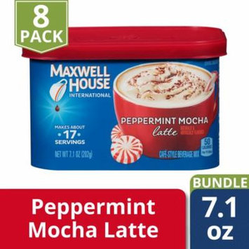 Maxwell House International Cafe Peppermint Mocha Latte Instant Coffee Beverage Mix, 7.1 oz. Tub (Pack of 8)