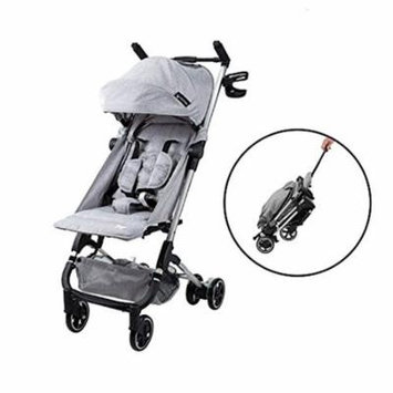 Babyroues Traveler Stroller, Fits In Airplane Overhead Bin, Large Canopy, Full Recline, One Hand Pull Handle, Weighs ONLY 10LBS, Compact, Perfect From Newborn To 4 Years Old (Grey)