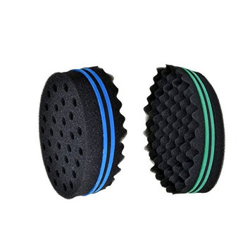 Magic Twist Hair Brush Double Side and Barber Curly Wave Dread Sponge Coil Dread lock Afro for Natural Hair 2 pack (8mm hole diameter) black