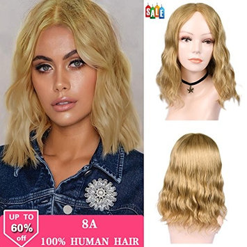 FAVE Short Natural Wave Bob Lace Wigs Human Hair Glueless Middle Part Wavy Wig for Women Golden Blonde Color with Free Gifts