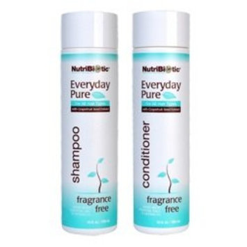 NutriBiotic Everyday Pure Fragrance Free Shampoo and Conditioner Bundle with Sea Kelp Extract, Grapefruit Peel Oil, Jojoba Seed Oil and Cucumber Fruit, 10 fl. oz. each