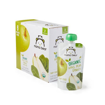Amazon Brand - Mama Bear Organic Baby Food, Stage 2, Apple Pear Spinach, 4 Ounce Pouch