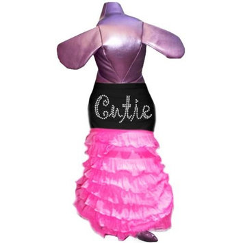 Pet Tease Cutie Frill Dog Dress, Black with Pink Frill with Rhinestone Lettering