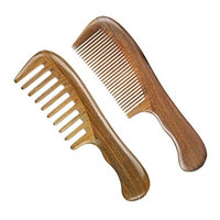Wooden Comb Wide Tooth And Fine Tooth Wood Comb,Green Sandalwood Anti Static Detangling Horn Comb For Women, Men And Girls,Hair Comb For Thick, Curly And Wavy Hair