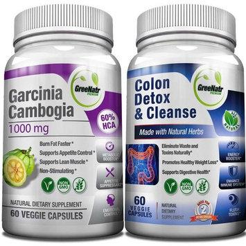 Colon Detox & Cleanse + Garcinia Cambogia Extract 1000 mg /120 Veggie Capsules/Gluten Free