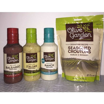 Olive Garden Dressings Variety Red Wine Balsamic, Signature Italian, Parmesan Ranch and Bonus Seasoned Croutons-All Dressings 16 oz.'s and Croutons 5 oz.