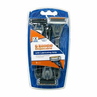 5 Pack Quality Choice Six Blade Disposable Razor For Men 3 Count Each
