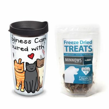 Tervis Project Paws Happiness Can Be Measured With Cats 16 oz Tumbler with black lid with Minnows Freeze Dried Treats