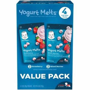 Nestle Gerber Yogurt Melts Freeze-Dried Yogurt Snacks, Strawberry/Mixed Berries, 1 oz Pouch (Pack of 4)