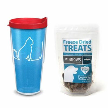 Tervis Project Paws Cat Heartbeat 24 oz Tumbler with red lid with Minnows Freeze Dried Treats