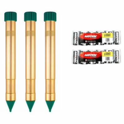 P3 Vibrasonic Molechaser Kit 3 Sonic Spikes P7906 Plus D Size Batteries Great for Mole and Gopher Control