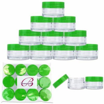 Beauticom 12 Pieces High Quality 20 Gram 20 ml (0.7 oz) Clear Round Acrylic Cosmetic Product Sample Travel Jars with Green Lids
