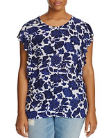 Lucky Brand Plus Floral Flutter Sleeve Top