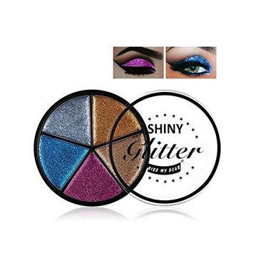 Meflying 5 Colors Soft Natural Waterproof Shining Glitter Long Lasting Eyeshadow Palette Eyeshadow