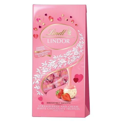 Lindt Lindor Strawberries & Cream White Chocolate Valentines Truffles 6oz