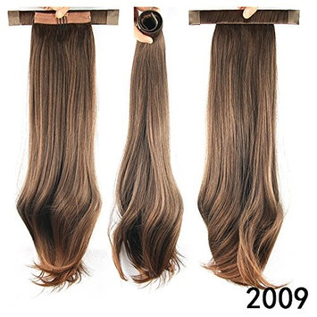 52cm Ladies Wrap Around Clip in Ponytail Long Straight Pigtail Hair Extensions Daily Wearing Synthetic Hairpieces