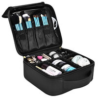 NiceEbag Travel Makeup Bag Large Cute Cosmetic Bag for Women Leather Makeup Case Professional Cosmetic Train Case Organizer with Adjustable Dividers for Cosmetics Make Up Tools Toiletry Jewelry,Black