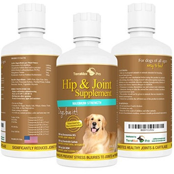 Best Hip and Joint Supplement for Dogs - Liquid Glucosamine w/ Chondroitin MSM and Hyaluronic Acid - Extra Strength - Safe Natural Arthritis Pain Relief - Made in USA - 32oz