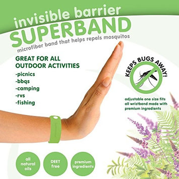 Invisible Barrier Superband - ALL NATURAL Microfiber Insect Repelling Wristband 5 Pack (Green)