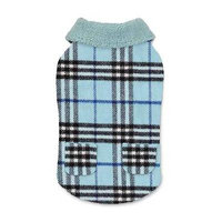 Zack and Zoey Elements Cuddle Plaid Dog Coat - Blue X-Small