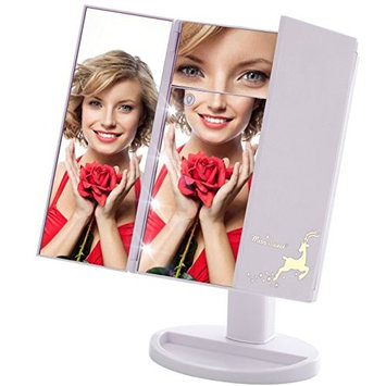 Miss Sweet Led Makeup Mirror Trifold Tabletop Mirror with 5X Magnification & True Image (White)