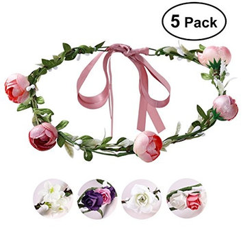 Flower Crown, ETEREAUTY 5 Pack Wreath Headband Garland Headbands for Wedding Festival Party Vacation Photography Props
