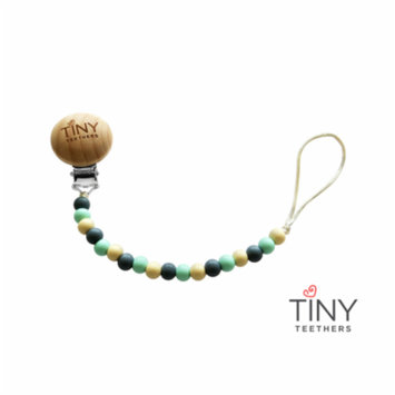 Tiny Teethers Pacifier Clip: Gray, Mint and Ivory