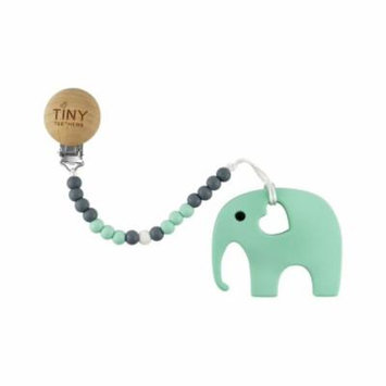 Tiny Teethers Teether + Clip Collection: Mint Elephant Teether with a Pacifier Clip