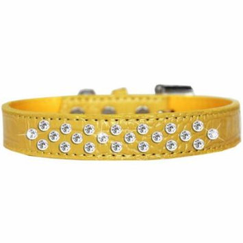 Sprinkles Clear Jewel Croc Dog Collar Yellow Size 20