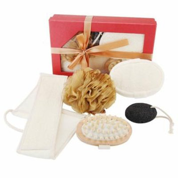 All Natural Back and Body Scrubber Bath Exfoliating Set Includes Loofah Back Scrubber, Sponge, Massage Brush, 60g Mesh Pouf And Lava Stone