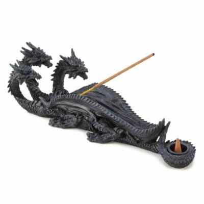 Dragons Incense Burner, Resin Three Headed Dragon Backflow Incense Holder (Sold by Case, Pack of 12)