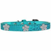 Silver Flower Widget Croc Dog Collar Turquoise Size 12