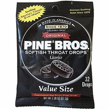 6 Pack Pine Bros. Softish Throat Drops Value Pack, Licorice Flavors 32 each