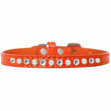 Pearl and Clear Jewel Croc Dog Collar Orange Size 12