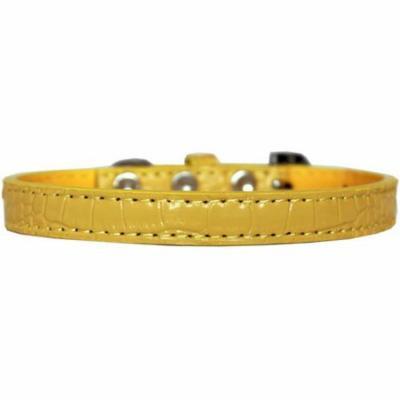 Wichita Plain Croc Dog Collar Yellow Size 10