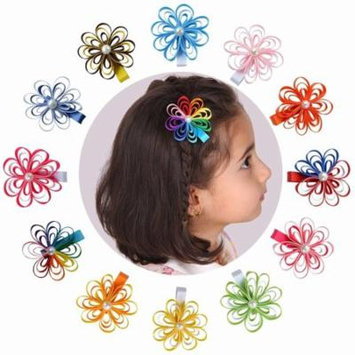 Tiny Flower Ribbon Hair Bows For Baby Girls, 12 Pk