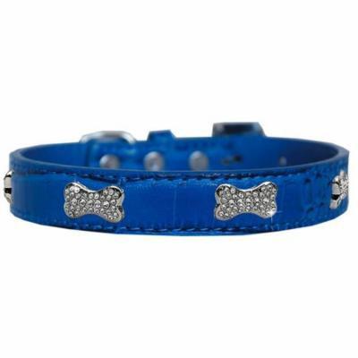 Croc Crystal Bone Dog Collar Blue Size 16