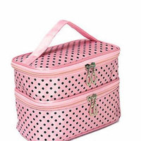 Dot Pattern Two Layer Travel Toiletry Cosmetic Organiser Bag with Zipper