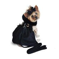 Wool Fur-Trimmed Dog Harness Coat - Black MEDIUM