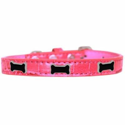 Black Bone Widget Croc Dog Collar Bright Pink Size 16